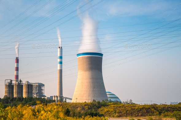 coal power plant in the afternoon - Stock Photo - Images