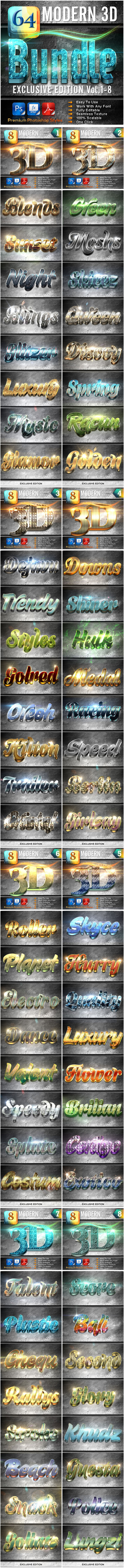 64 Modern 3D Exclusive Edition Bundle - Text Effects Styles