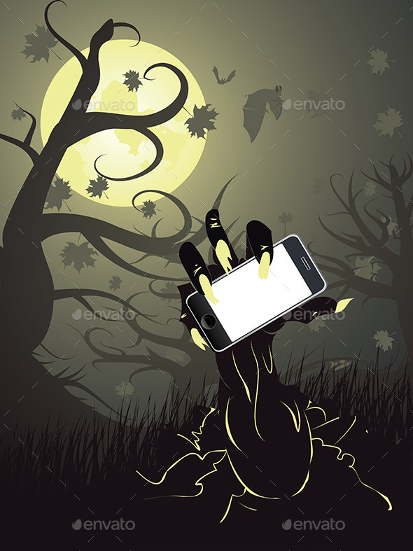 Zombie Hand with Phone - Halloween Seasons/Holidays