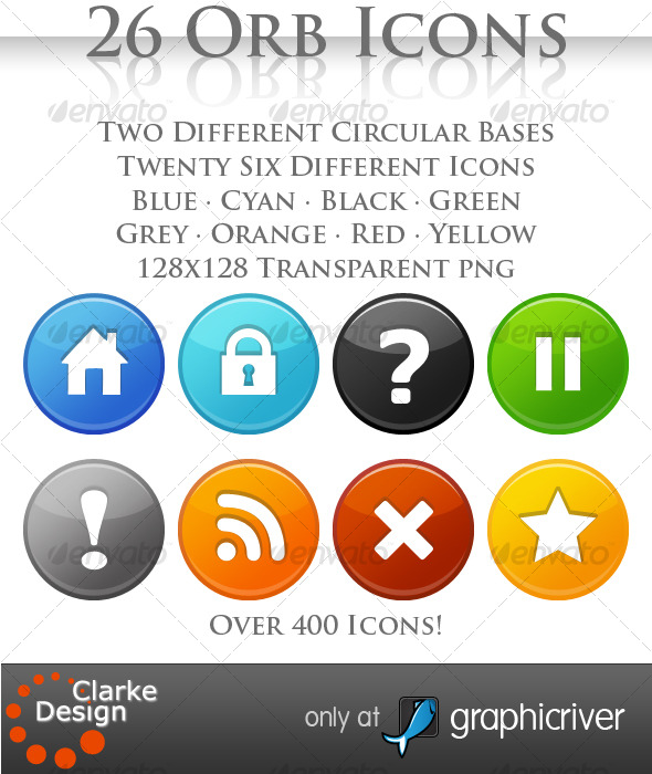 A collection 26 Orb Icons - Web Icons