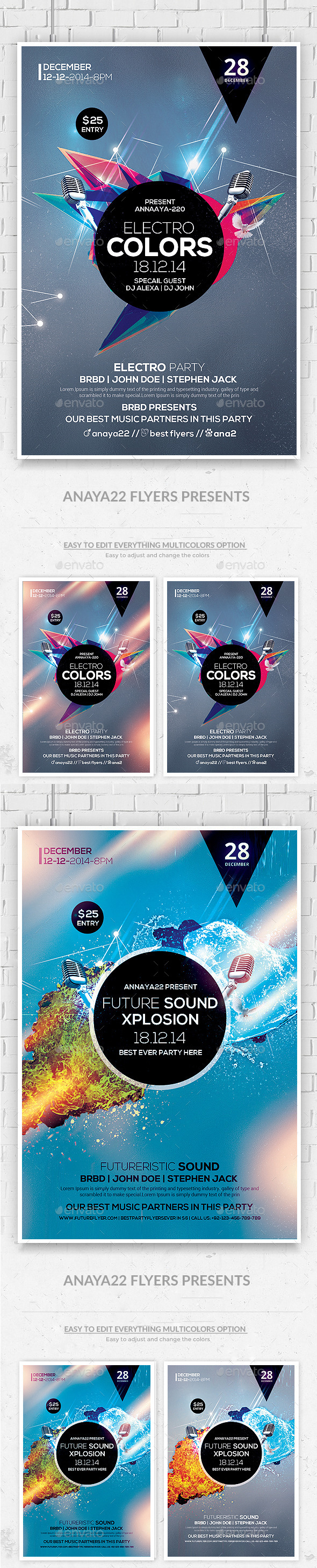 Futuristic Flyer Psd Template - Clubs & Parties Events