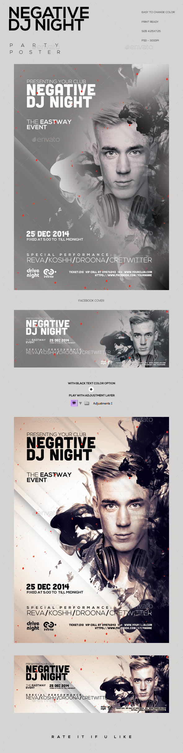 Negative Dj Night Party Flyer - Clubs & Parties Events