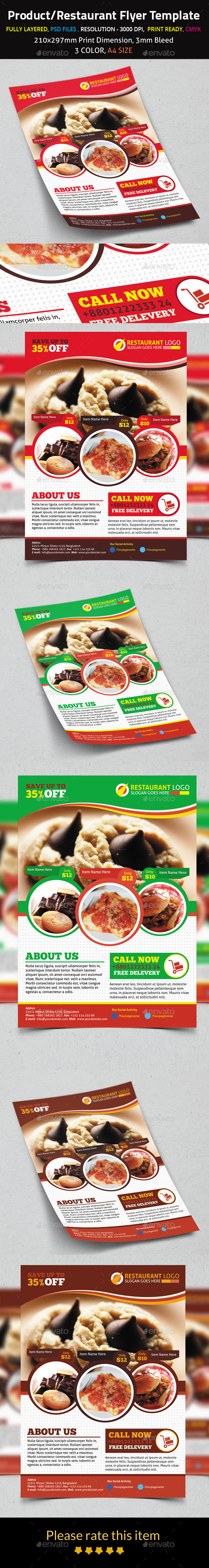 Product/Restaurant Flyer Template - Restaurant Flyers