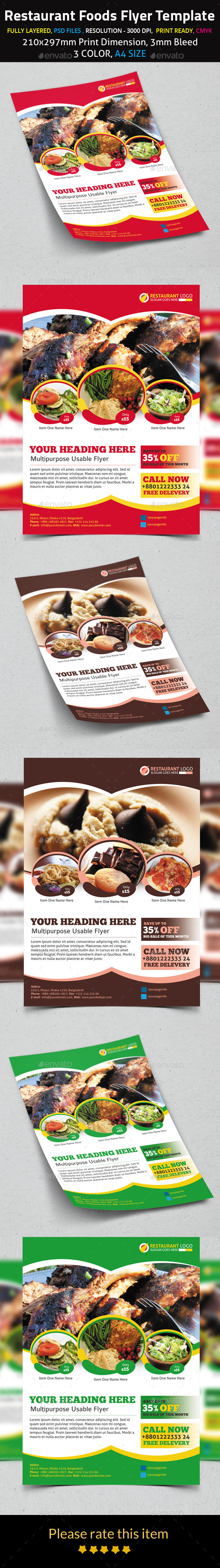 Restaurant Foods Flyer Template - Flyers Print Templates