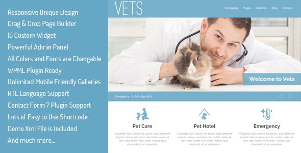 VETS – Veterinary Medical Health Clinic WP Theme