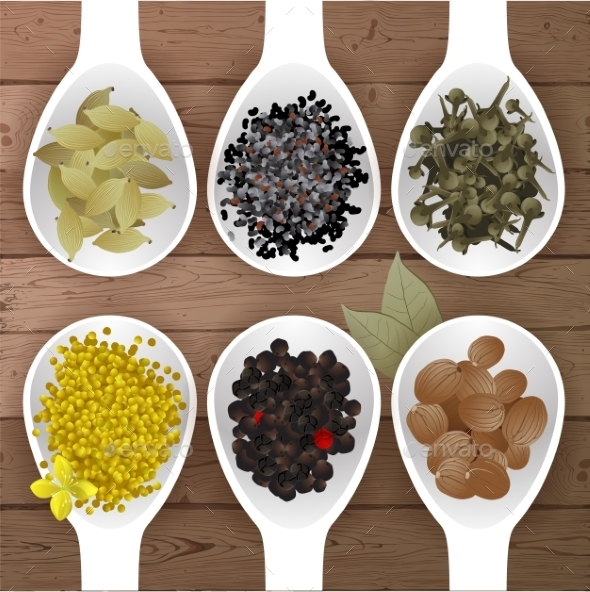 Spices in Spoons - Food Objects