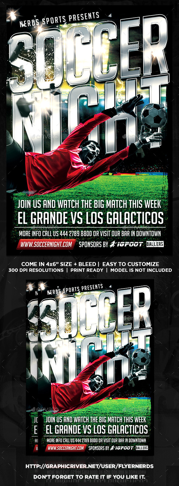 Soccer Night Sport Flyer - Sports Events