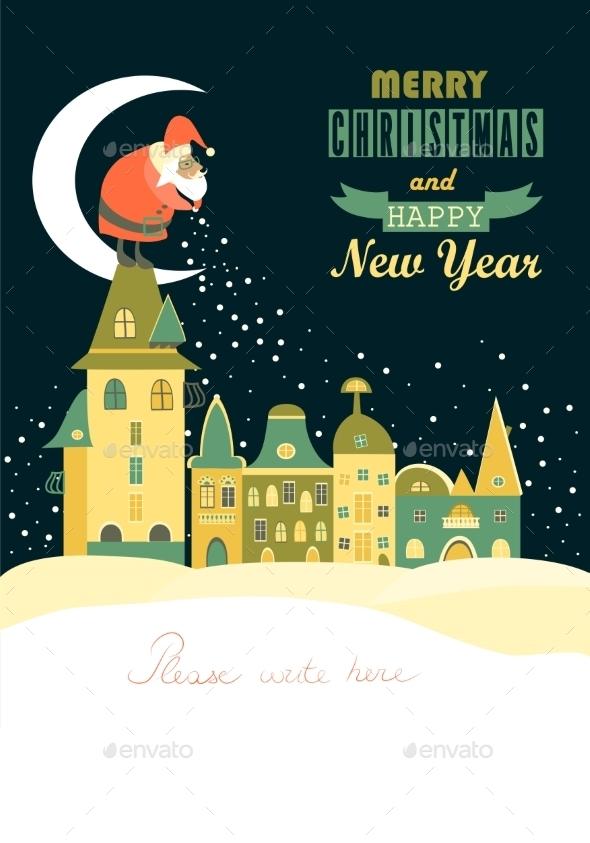 Santa Claus Spreads Snowflakes - Christmas Seasons/Holidays