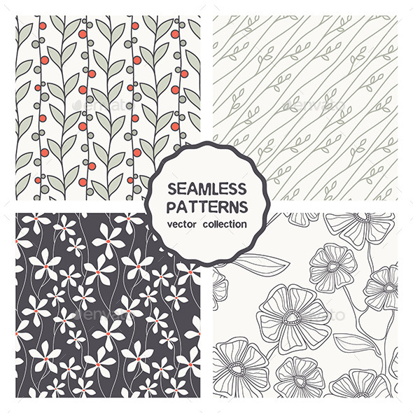 Set of Four Floral Seamless Patterns - Patterns Decorative