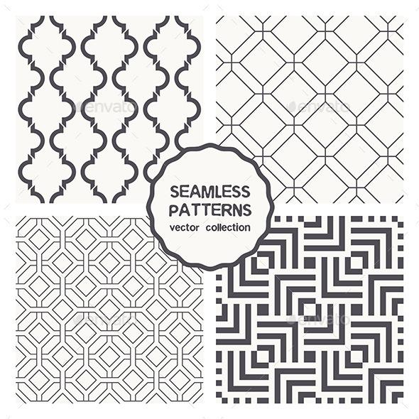 Vector Set of Four Geometric Seamless Patterns - Patterns Decorative