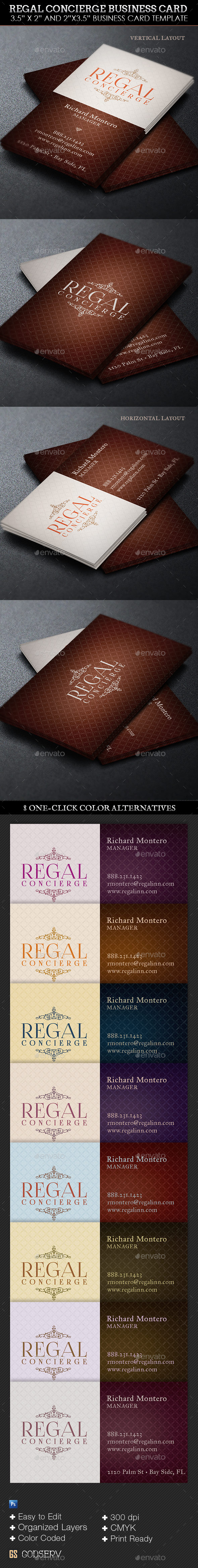 Regal Concierge Business Card Template - Industry Specific Business Cards