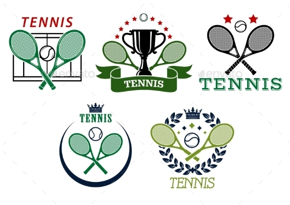 Tennis Sport Symbols and Emblems - Sports/Activity Conceptual
