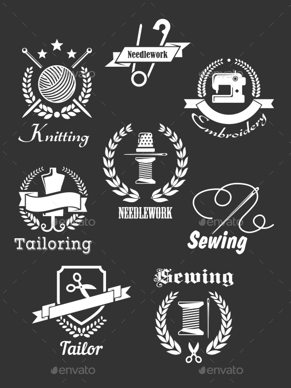 White Handicraft Icons on Black - Objects Vectors