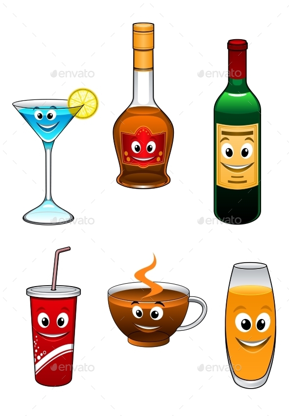 Drinks and Beverage Cartoon Characters - Food Objects