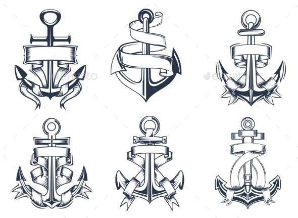 Ship Anchor Emblems - Objects Vectors