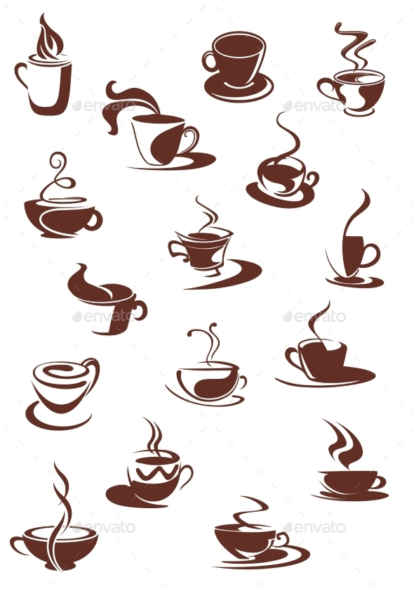 Set of Hot Coffee Sketches - Food Objects