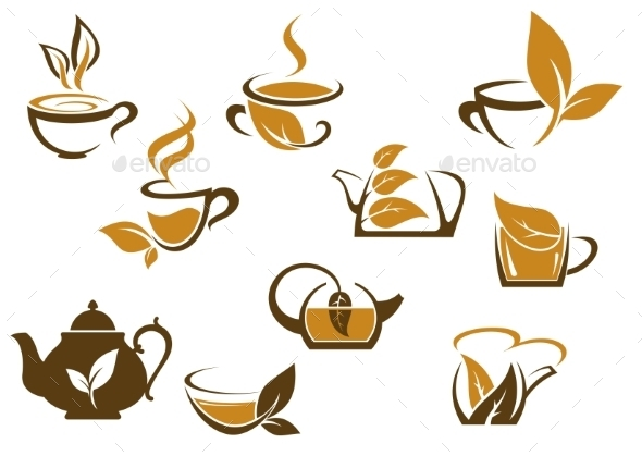 Set of Organic and Herbal Tea Icons - Food Objects