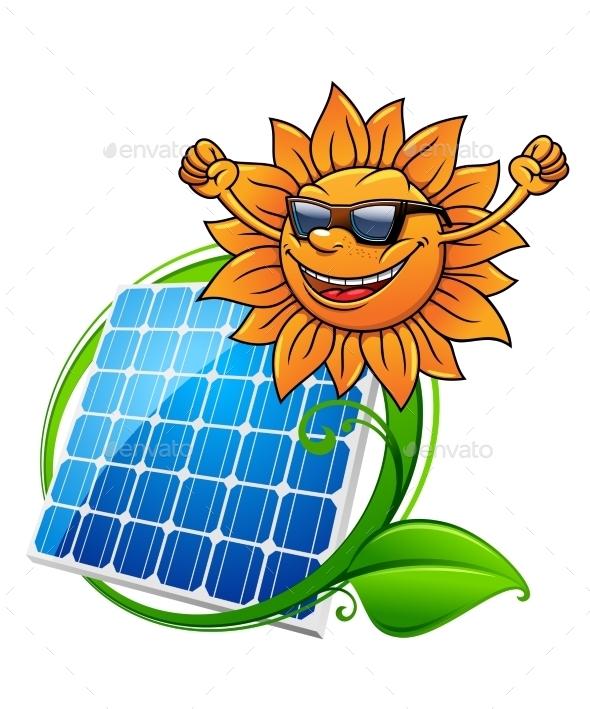 Solar Energy Panel and Sun - Technology Conceptual