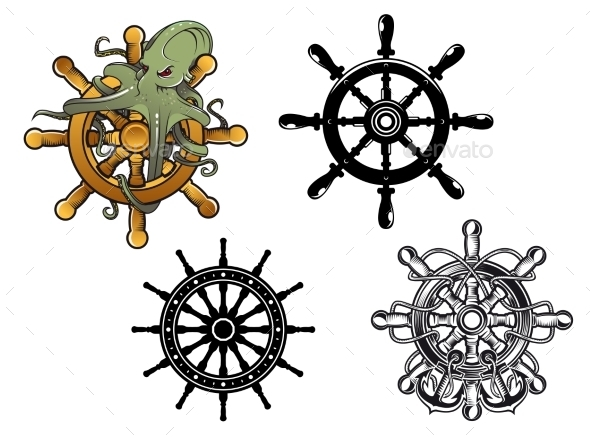 Steering Wheels with Octopuss - Miscellaneous Vectors