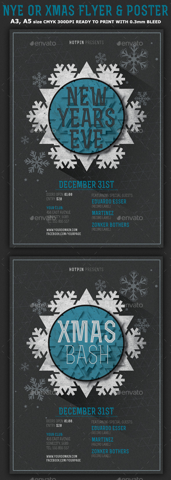 Minimal New Year/Christmas Flyer Template - Clubs & Parties Events