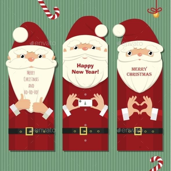 Santa Claus Three Cards - Christmas Seasons/Holidays