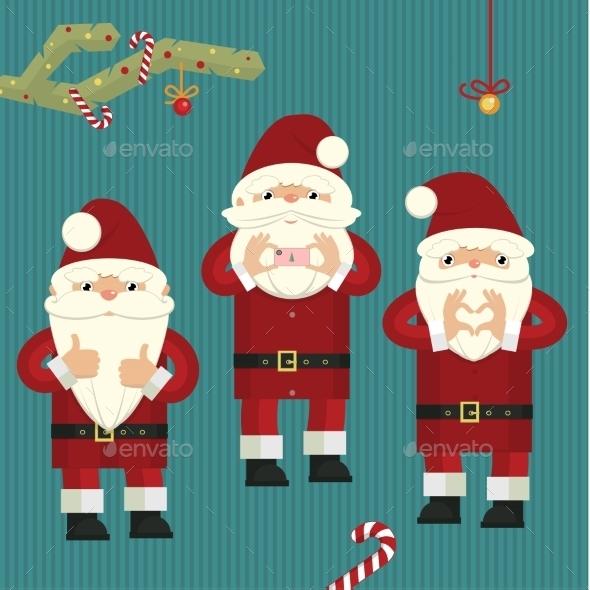 Three Figures of Santa Clauses - Christmas Seasons/Holidays