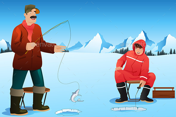 Men Ice Fishing - Sports/Activity Conceptual