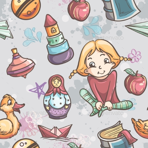 Children with Toys Pattern - Patterns Decorative