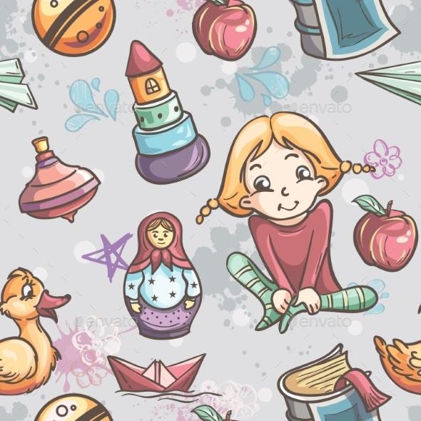 Children with Toys Pattern - Patterns Decorative