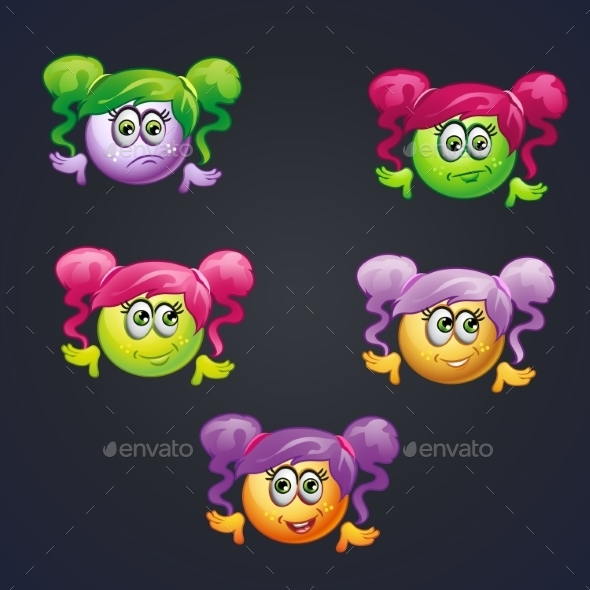 Set of Smilies Girls with Different Emotions - Birthdays Seasons/Holidays