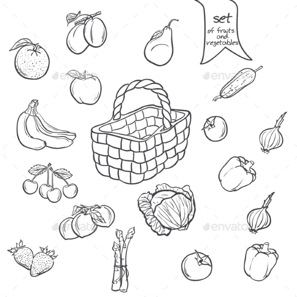 Set of Fruits and Vegetables with a Basket - Food Objects