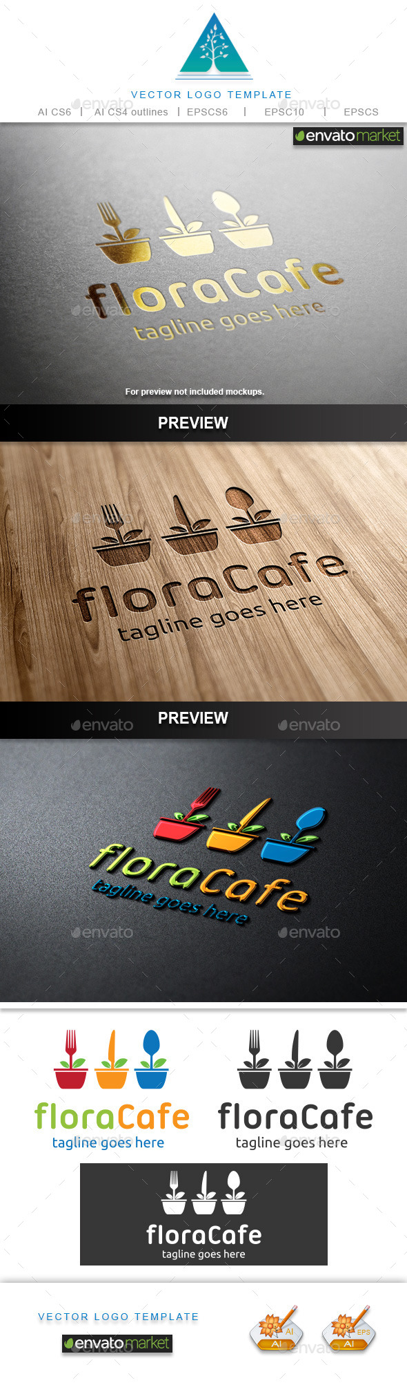 Flora Cafe Logo - Food Logo Templates