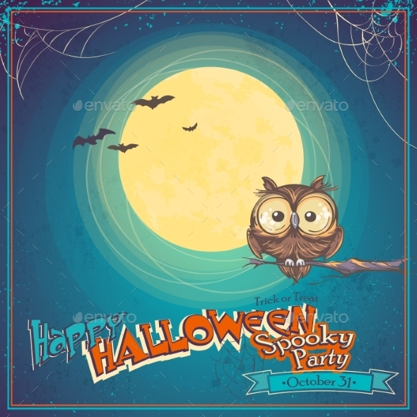 Greeting Card Halloween with Owl on Background - Halloween Seasons/Holidays