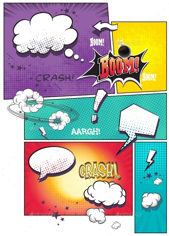Comic Book Pages with Different Speech Bubbles - Valentines Seasons/Holidays