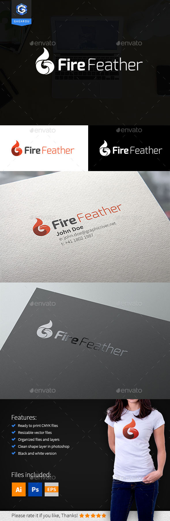 Fire Feather logo - Nature Logo Templates