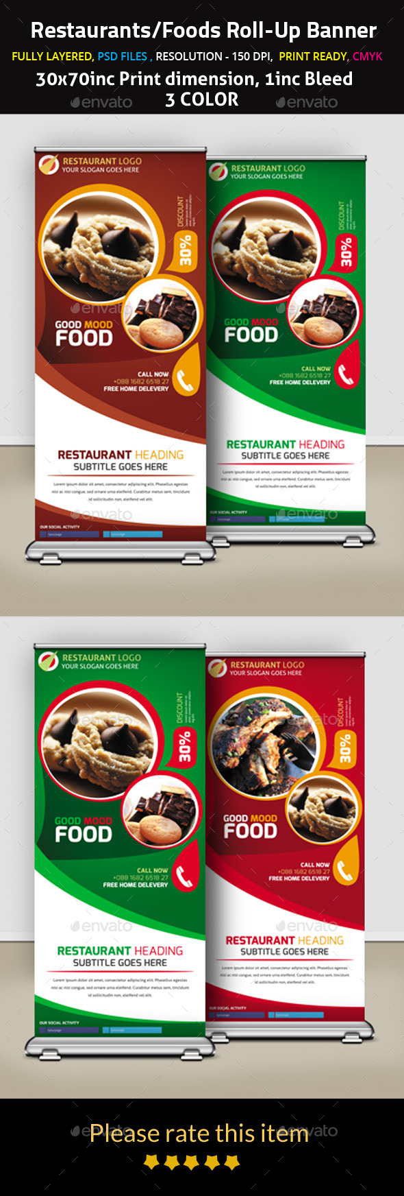 Restaurants/Foods Roll-Up Banner - Signage Print Templates