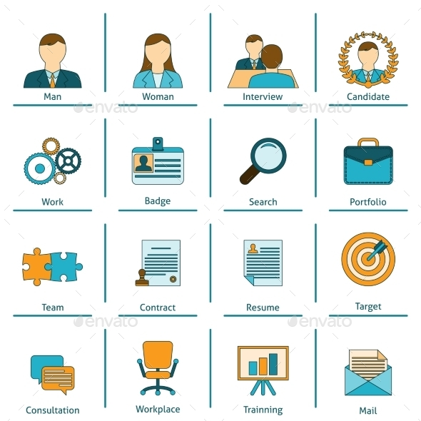 Human Resources Flat Icons Set - Concepts Business