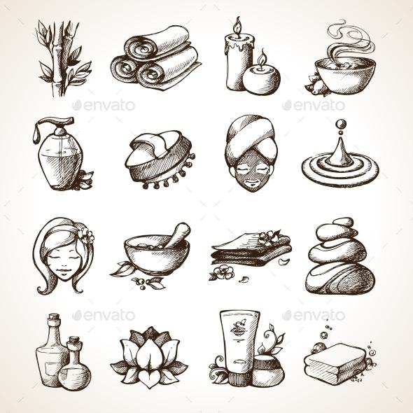 Spa Sketch Icons - Health/Medicine Conceptual