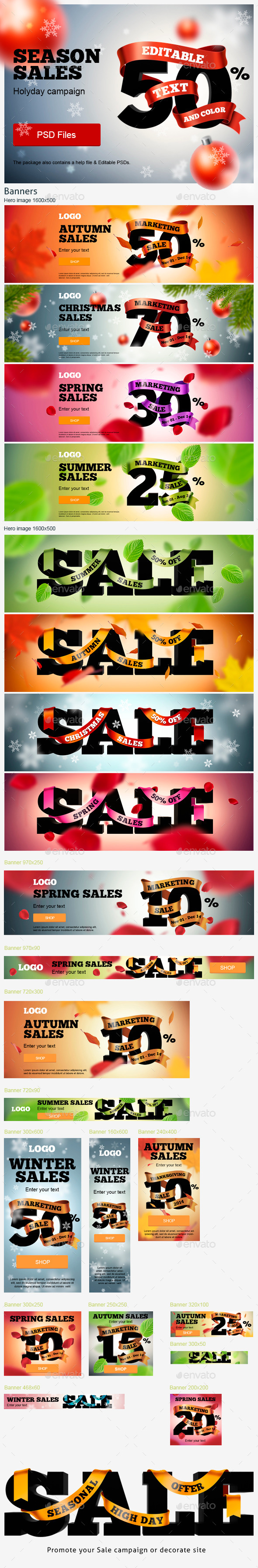 Season Sales Ads Kit - Banners & Ads Web Elements