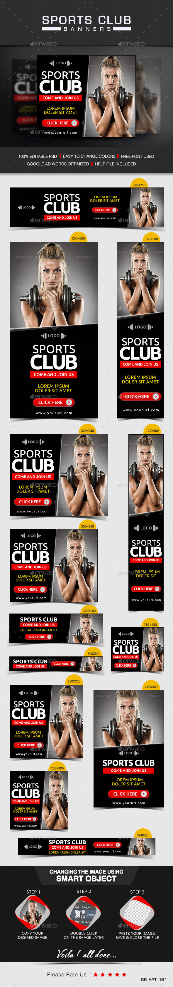 Gym & Sports club Banners - Banners & Ads Web Elements