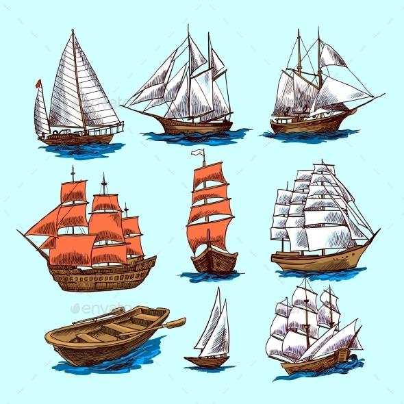 Ships and Boats Set - Decorative Symbols Decorative