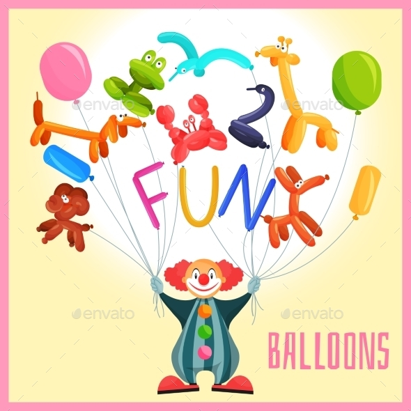 Clown with Balloons  - Backgrounds Decorative