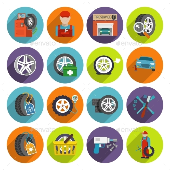 Tire Service Icon Set - Web Elements Vectors