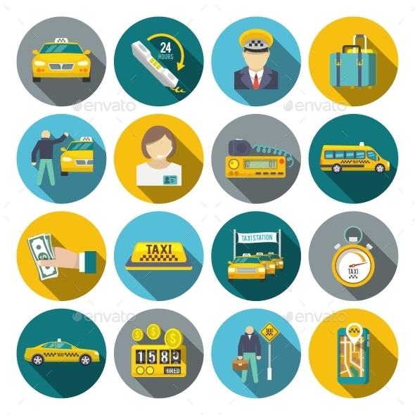 Taxi Icons Set - Web Elements Vectors