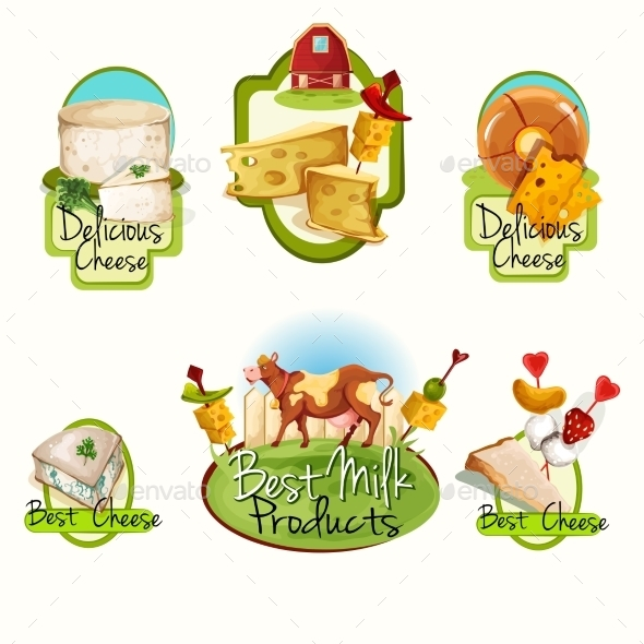 Cheese Labels Set - Food Objects