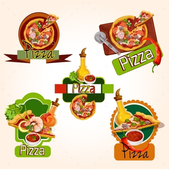 Pizza Emblems Set - Food Objects
