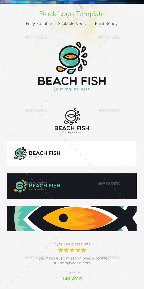 Beach Fish  Stock Logo Template