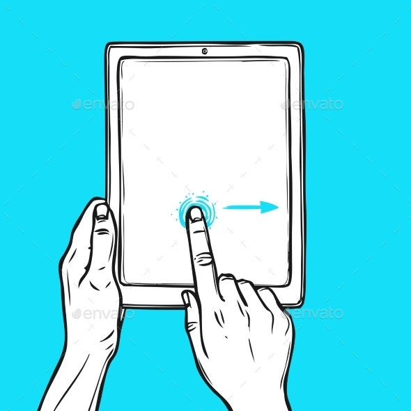Hand Holding Tablet - Technology Conceptual