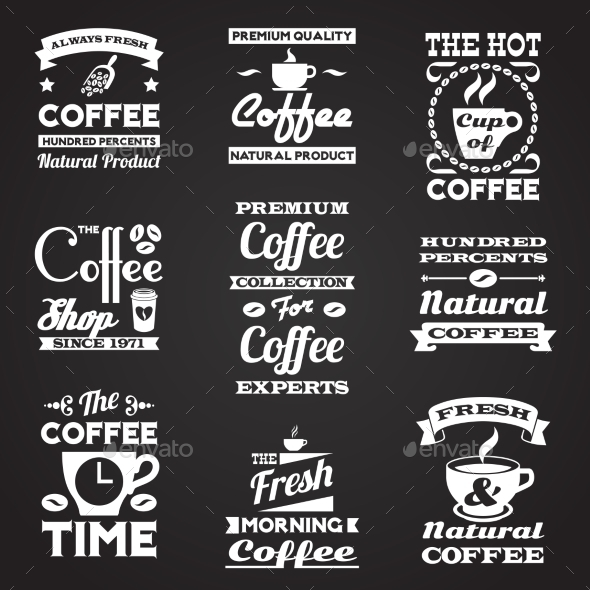 Coffee Vintage Labels Set - Food Objects