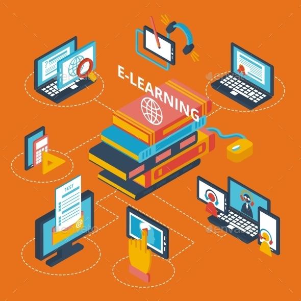 Isometric E-Learning Icons  - Web Elements Vectors